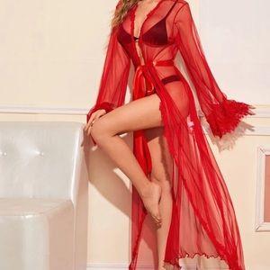 SALE victoria's secret red sheer lace trim robe